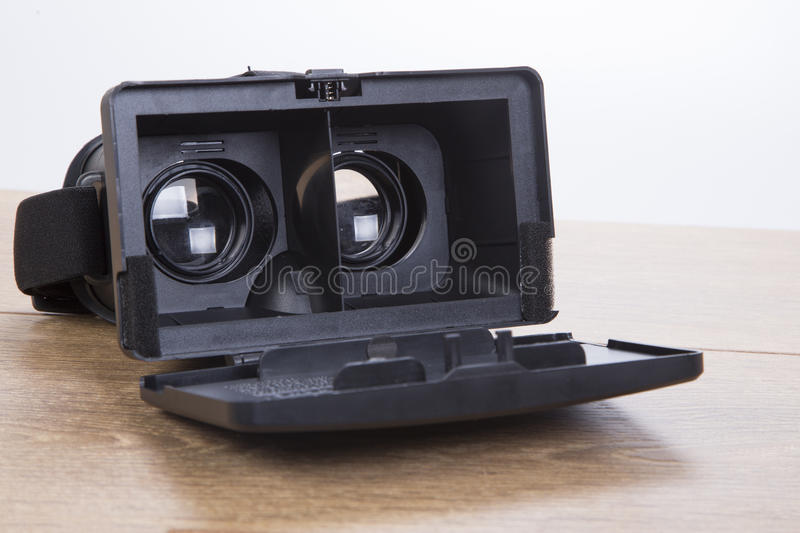 Open 3d VR virtual reality goggles or headset stock photos