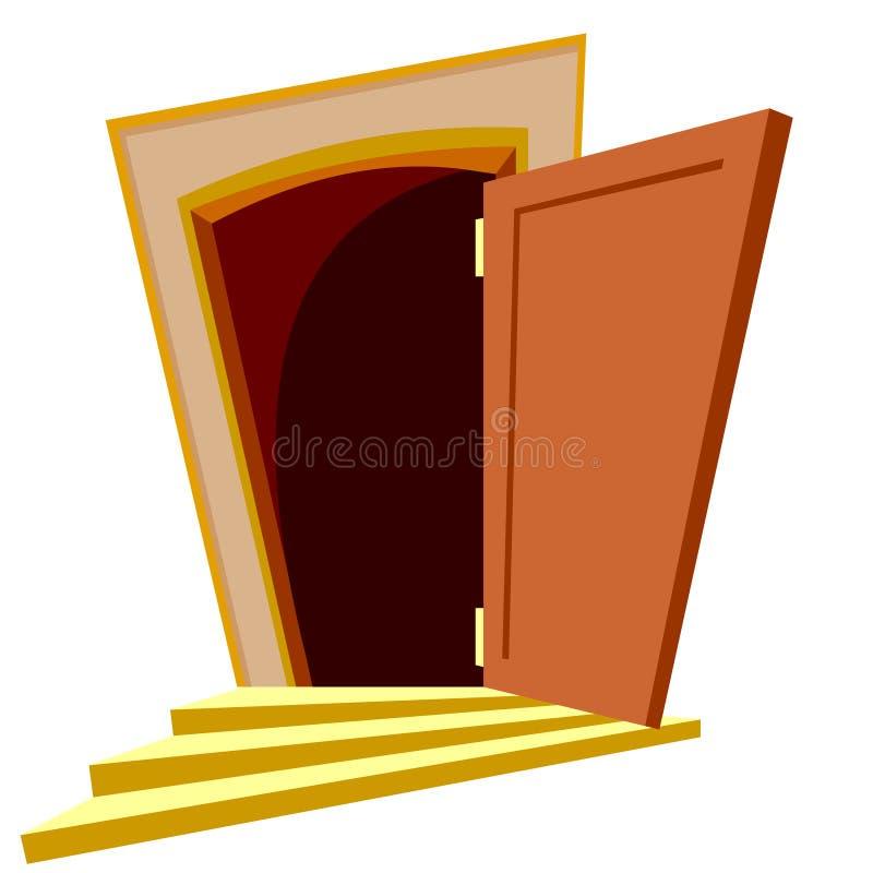 Open de deur van de beeldverhaalkromme stock illustratie