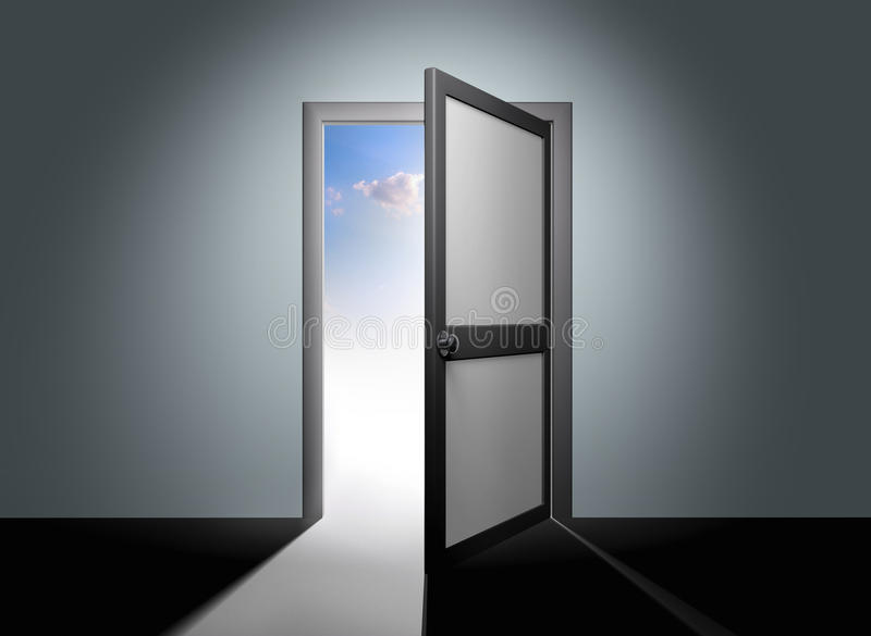 Open de deur voor hemel stock foto's