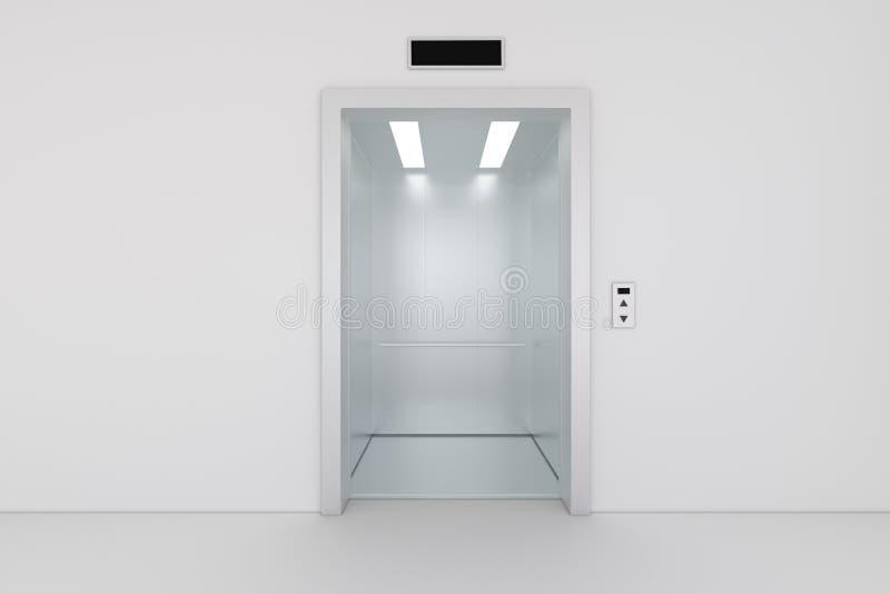 Open de het bureaubouw van het chroommetaal liftdeuren royalty-vrije illustratie