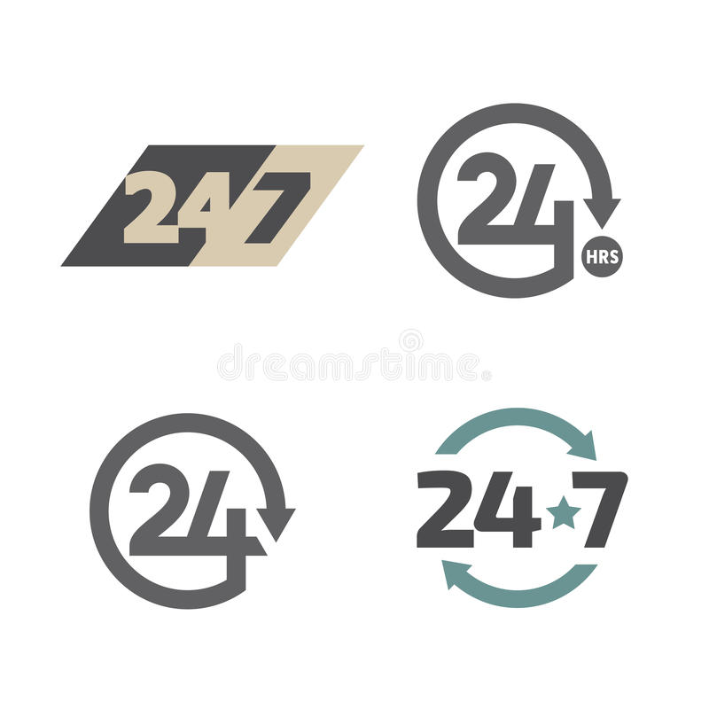 Open de klok rond 24 geplaatste uren 7 dagen per week pictogrammen stock illustratie
