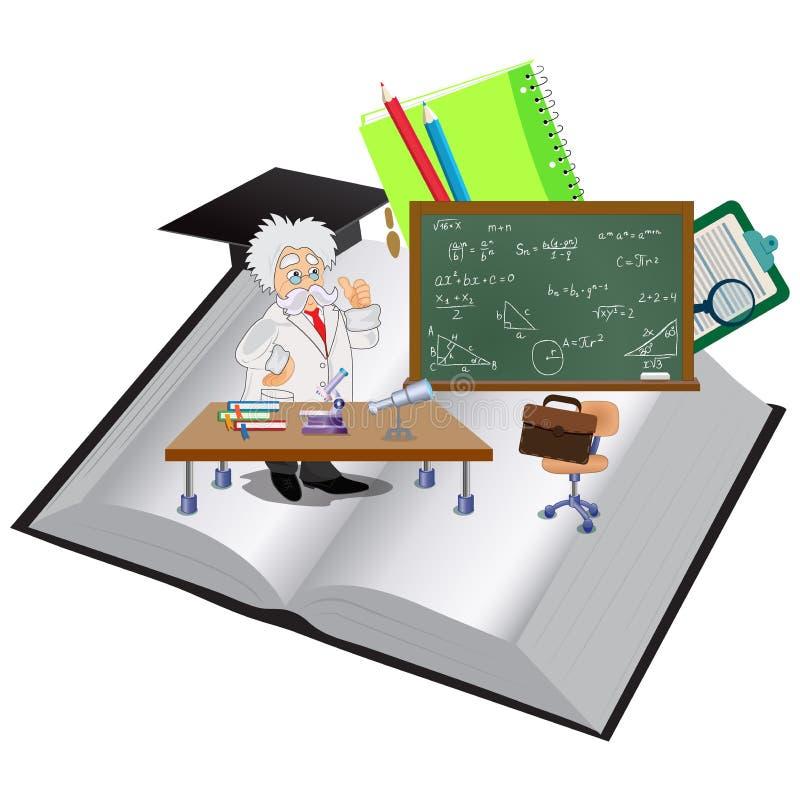 Open de professor en het onderwijsvoorwerpen van het boekverstand, vectorillustratie vector illustratie