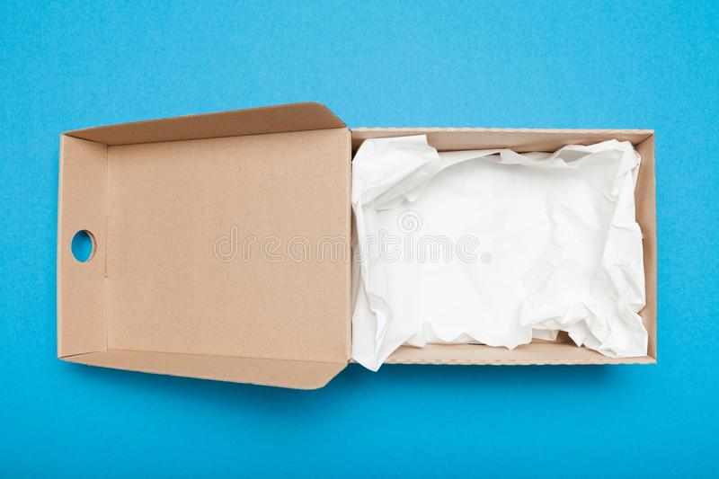 Open delivery box, arboreal cargo.  stock photography
