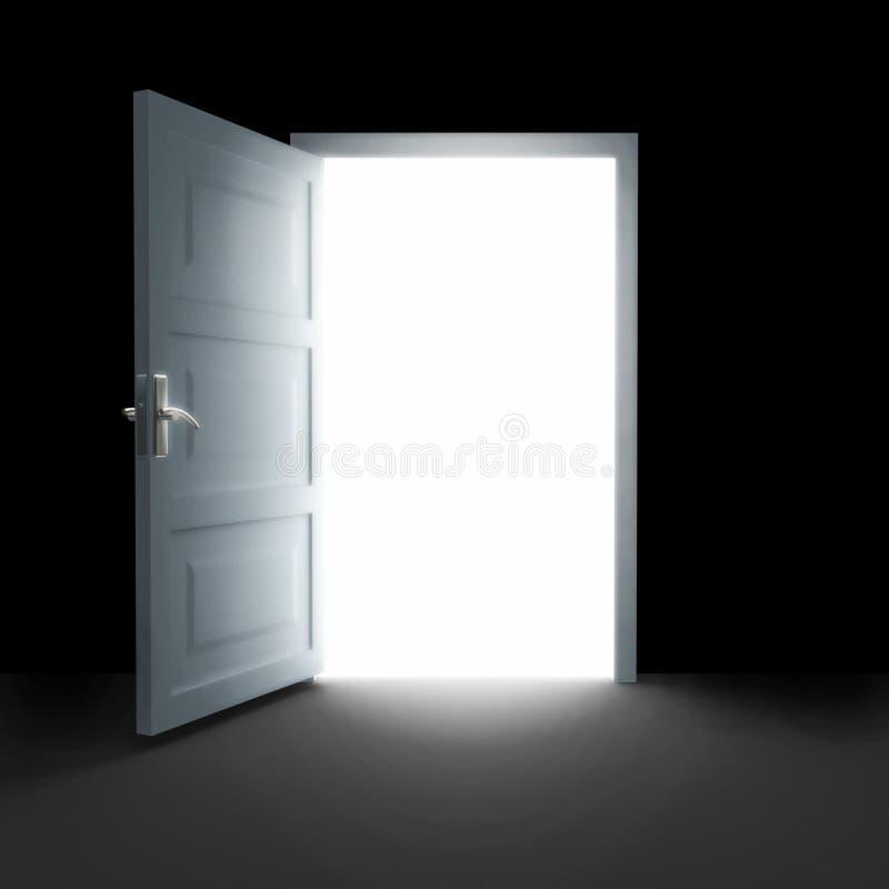 Open deur aan wit licht stock foto