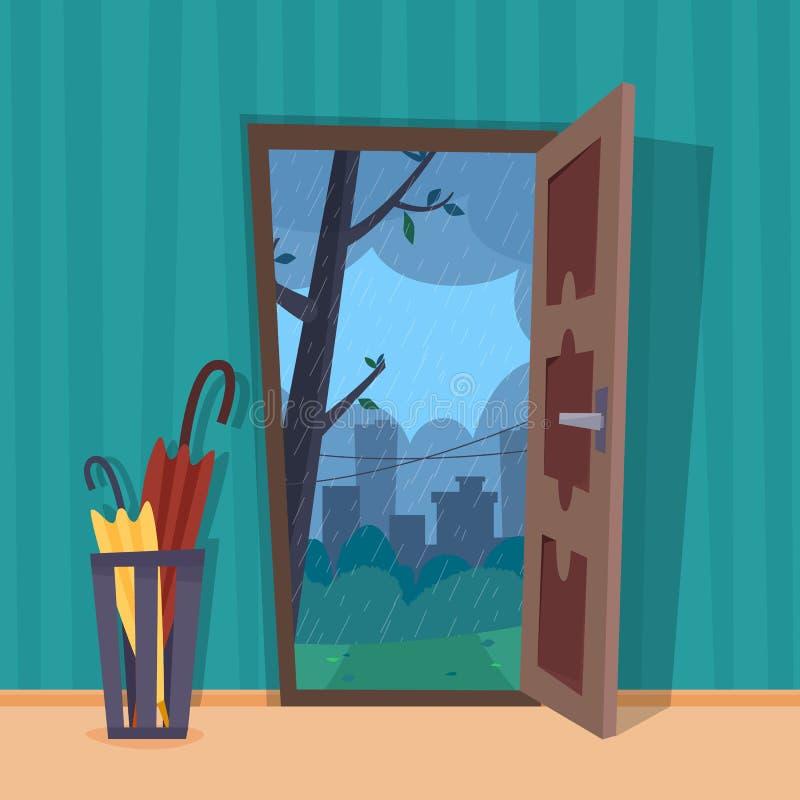 Open deur in de mening van de regenstad Paraplu in ruimte royalty-vrije illustratie