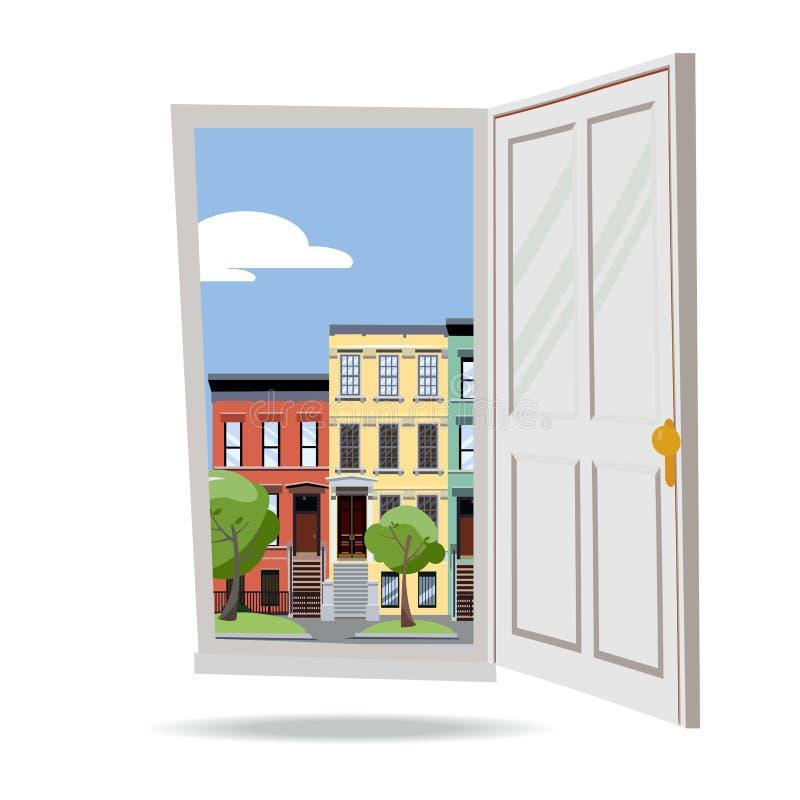 Open deur in de stadsmening van de dagzomer met groene bladerenbomen op witte achtergrond De vlakke illustratie van de beeldverha vector illustratie
