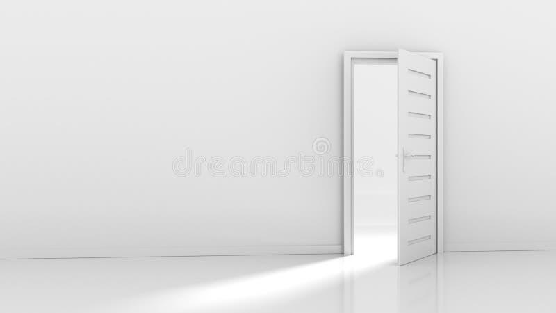 Open deur en lichte stroom stock illustratie