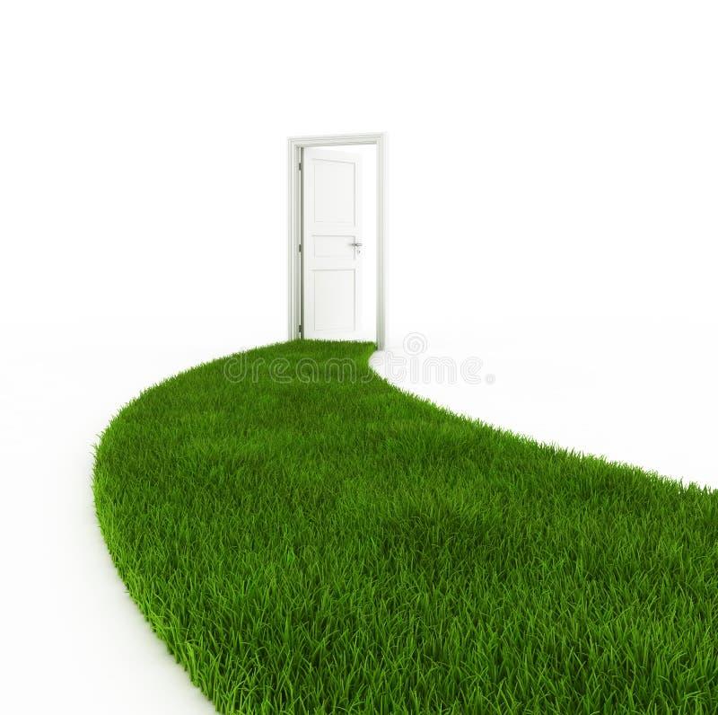 Open deur met grasvoetpad vector illustratie