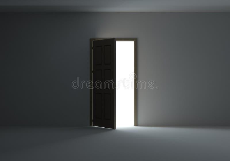 Open deur met helder licht royalty-vrije stock afbeelding