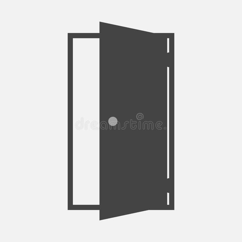 Open deur vectorpictogram Pictogram die ruimte op ingang of uitgang wijzen stock illustratie