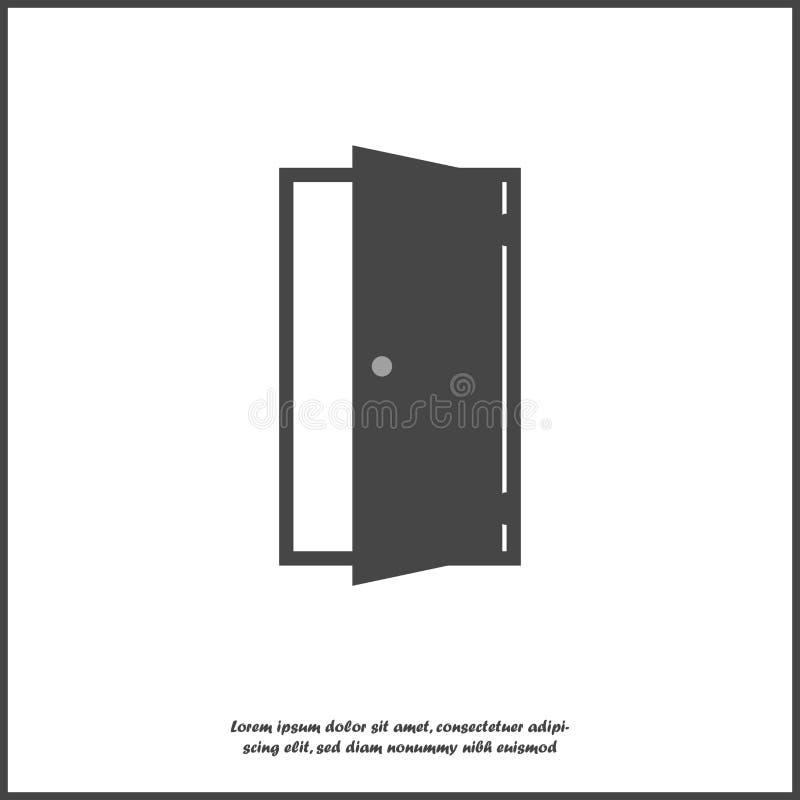 Open deur vectorpictogram Pictogram die ruimte op ingang of uitgang op wit geïsoleerde achtergrond wijzen Lagen voor het gemakkel stock illustratie