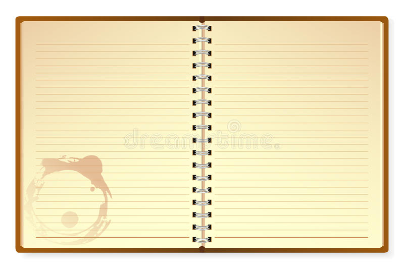 Open Diary. Illustration of open diary on isolated white background royalty free illustration
