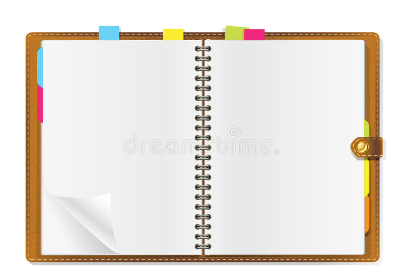 Open diary. On office table royalty free illustration