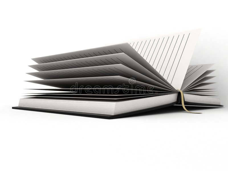 Open diary. Three dimensional open diary against white background royalty free illustration