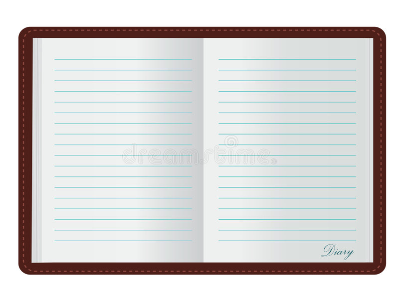 Open Diary. Vector illustration of open diary isolated over white background stock illustration