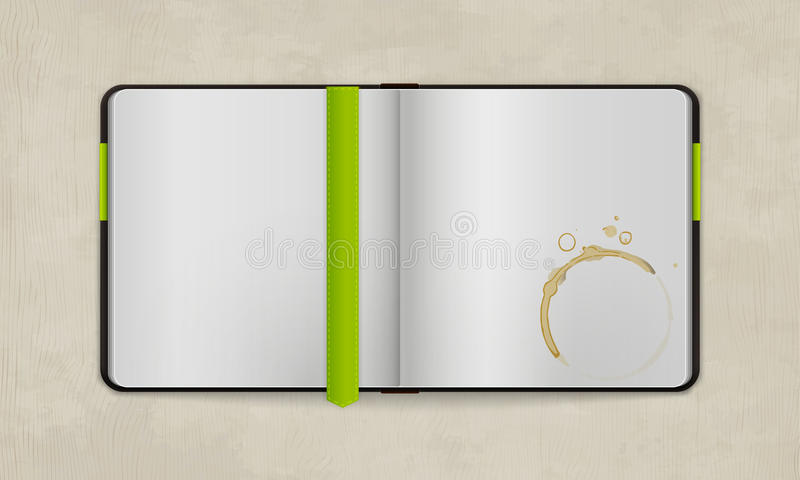 Open Diary with Blank Pages and Coffee Stain. | Vector Mock Up | Organized Layers royalty free illustration