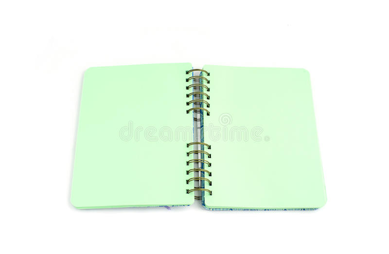 Open diary with blank pages. Colored leaves, spring. White background royalty free stock photo