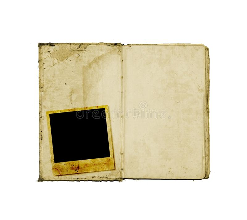 Open diary book. Or photo album with instant photo royalty free illustration