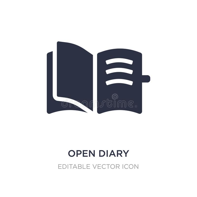 Open diary icon on white background. Simple element illustration from UI concept. Open diary icon symbol design stock illustration