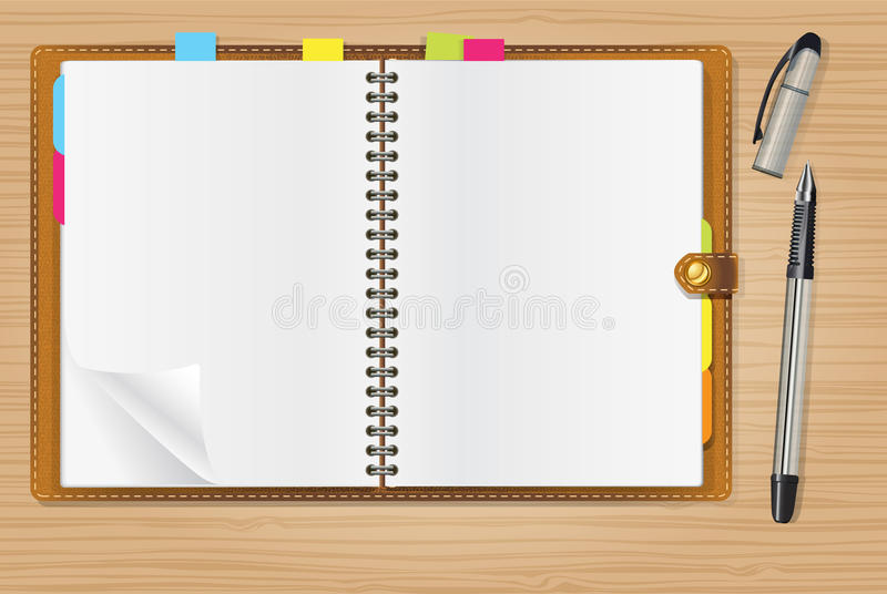 Open diary and a pen. On office table royalty free illustration