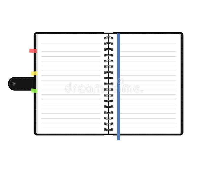 Open diary or personal organizer with empty pages. Isolated on white background daily planner. Vector. Open diary or personal organizer with empty pages vector illustration