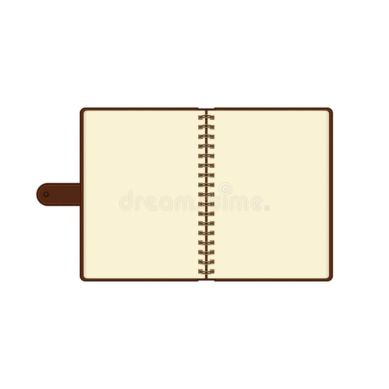 Open diary or personal organizer with empty pages. Isolated on white background daily planner. Vector. Open diary or personal organizer with empty pages royalty free illustration