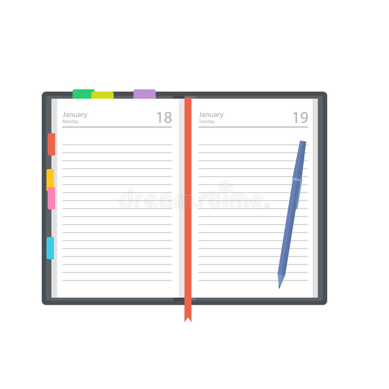 Open diary, planner or notebook vector illustration in flat style. Office and business supplies for lists, reminders, schedules or agendas royalty free illustration
