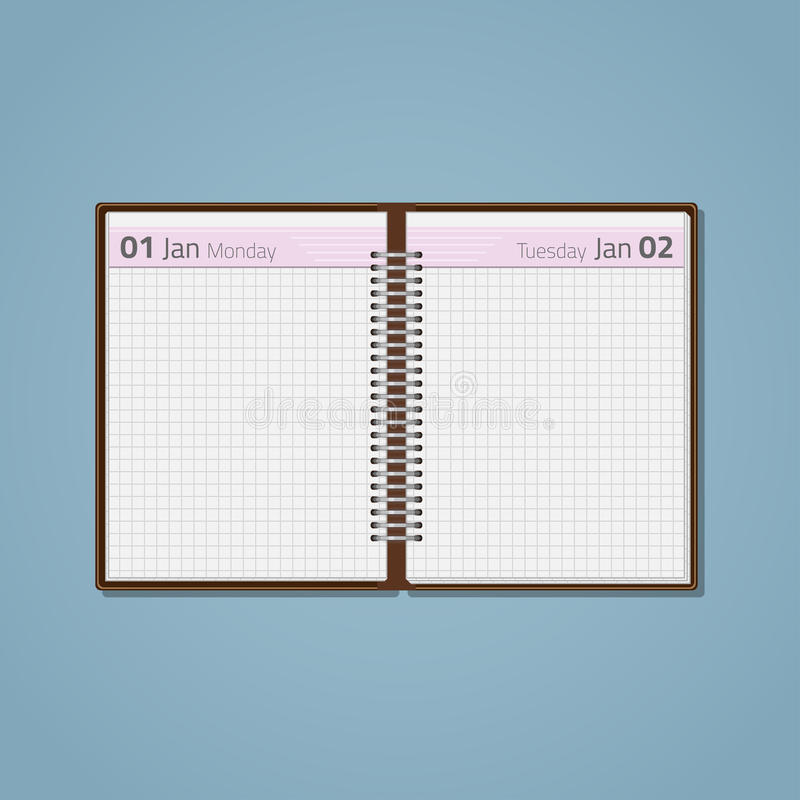 Open diary on spring. Open a diary template with a pink stripe on the spring, with white blank sheets in the cage. The form of the notebook with the date of the vector illustration