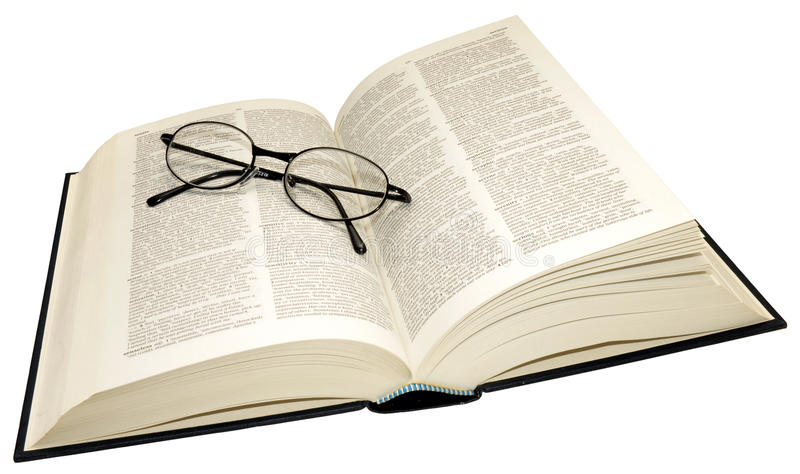 Open Dictionary And Reading Glasses stock photography