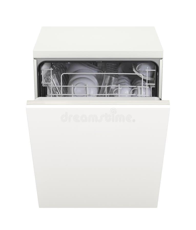 Open die afwasmachine op wit wordt geïsoleerd stock afbeeldingen