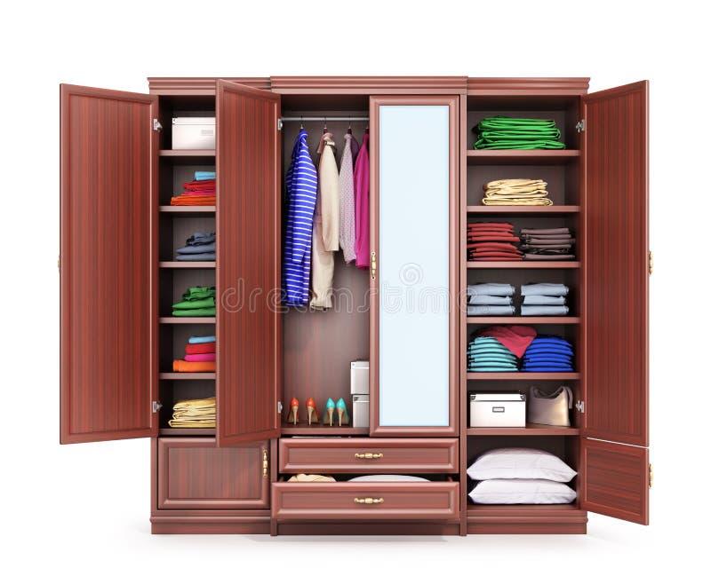 Open die kast van donker hout, kleren wordt gemaakt Kastcompartiment 3D Illustratie stock illustratie