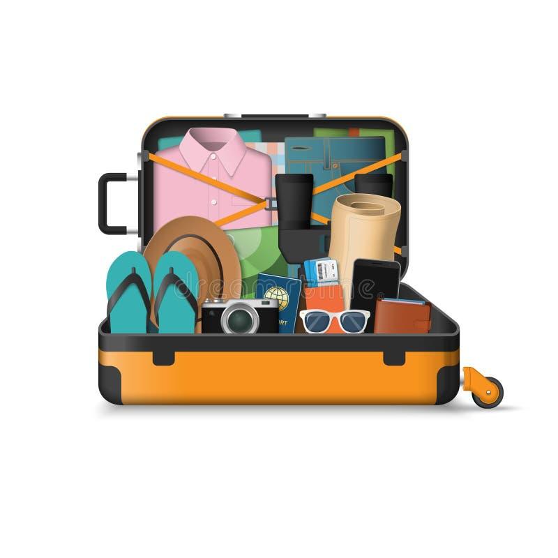 Open die koffer voor reis wordt ingepakt vector illustratie