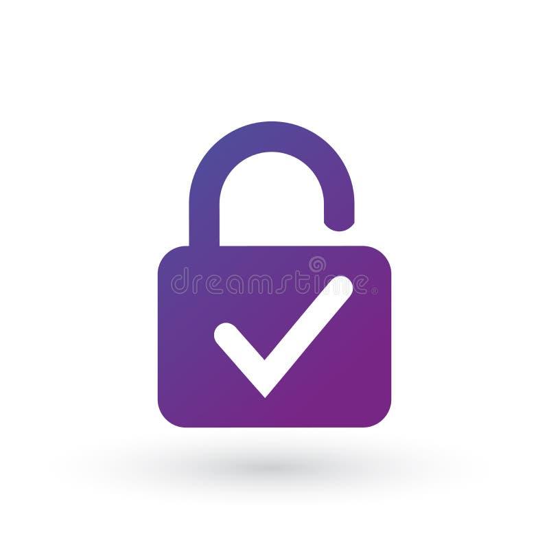 Open die Slot en vinkjepictogram op witte achtergrond wordt geïsoleerd Het teken van het veiligheidscontroleslot Vector illustrat vector illustratie