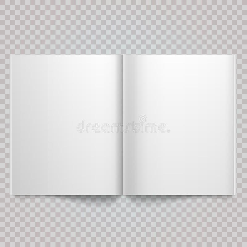 Open die tijdschrift dubbel-pagina met blanco pagina's wordt uitgespreid Geïsoleerd uitgespreid Witboek Vector wit leeg tijdschri royalty-vrije illustratie