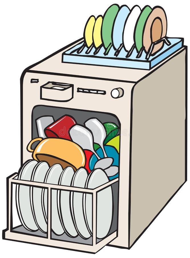 Open dishwasher vector illustration