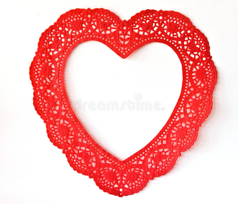 Open Doily Heart. Doily Heart Open in the center stock photography