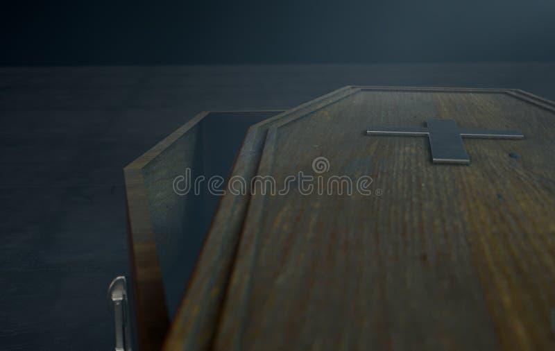 Open Doodskist en Kruisbeeld stock illustratie