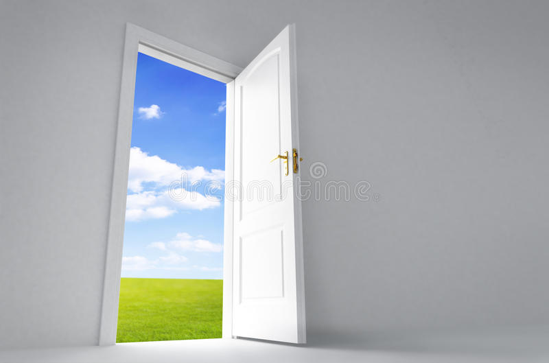 Open door. To a vibrant landscape vector illustration