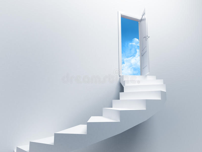 Open door. With the sky in the background stock illustration