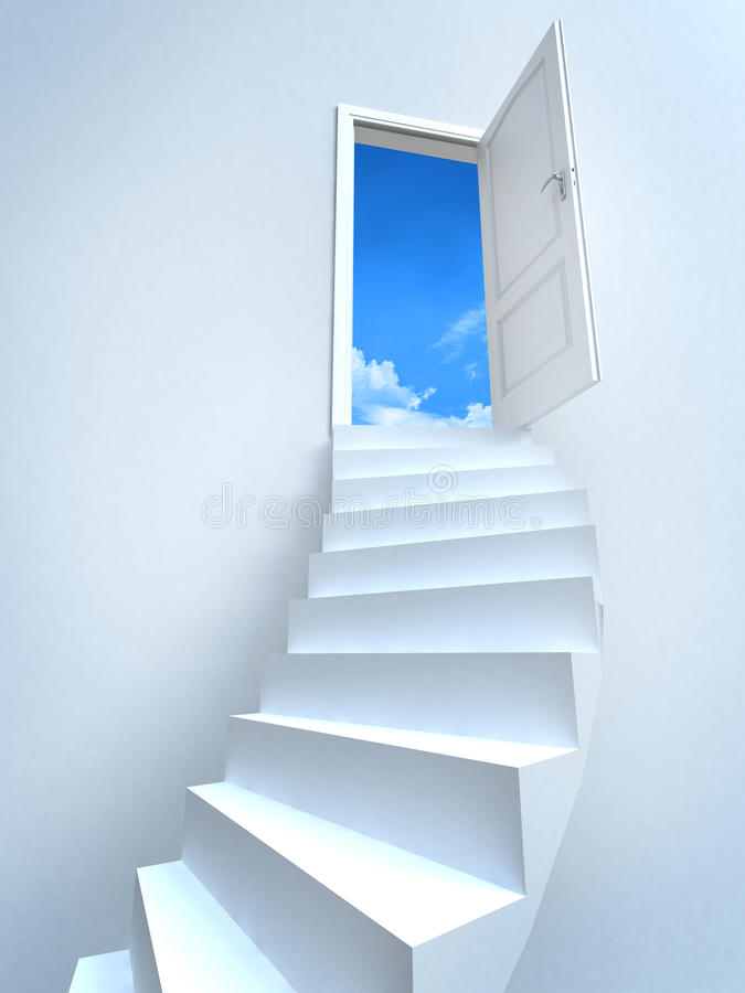 Open door. With the sky in the background royalty free illustration
