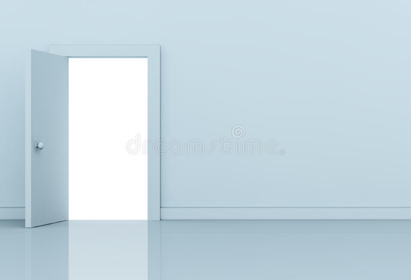 Open door. One wall with a open door on left side (3d render royalty free illustration
