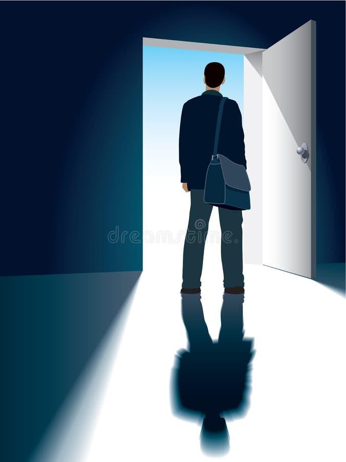 Open door. A businessman is standing in front of an open door