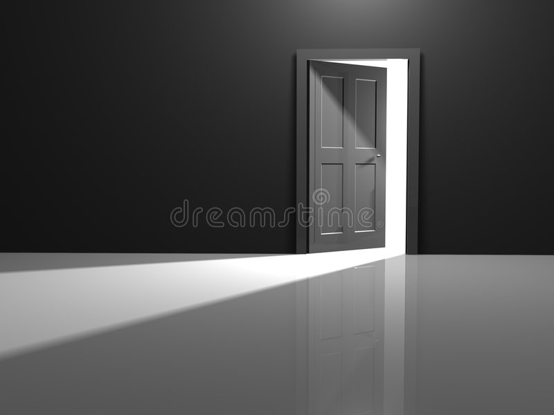 Open door. To the white beyond royalty free illustration