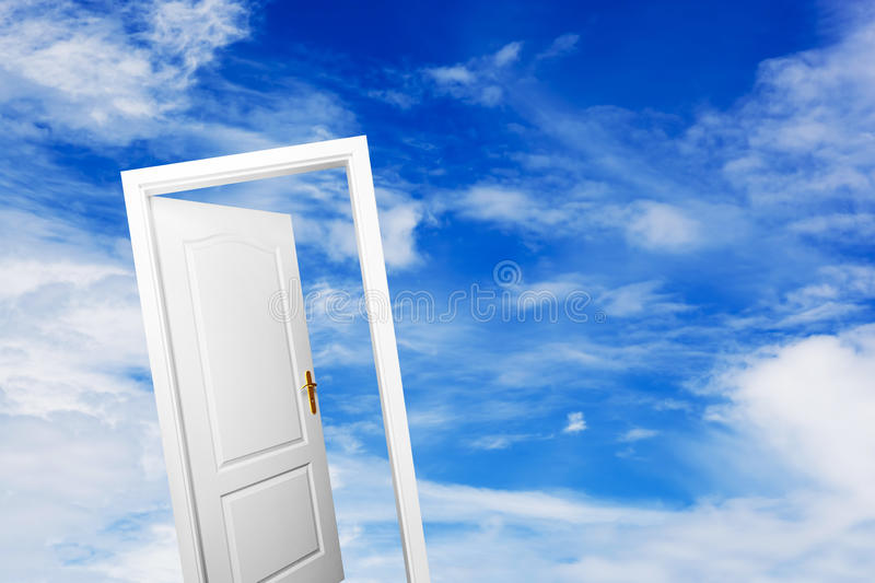 Open door on blue sunny sky. New life, success, hope. Open door on blue sunny sky with fluffy clouds. Concepts like new life, success, future perspective, hope royalty free stock image