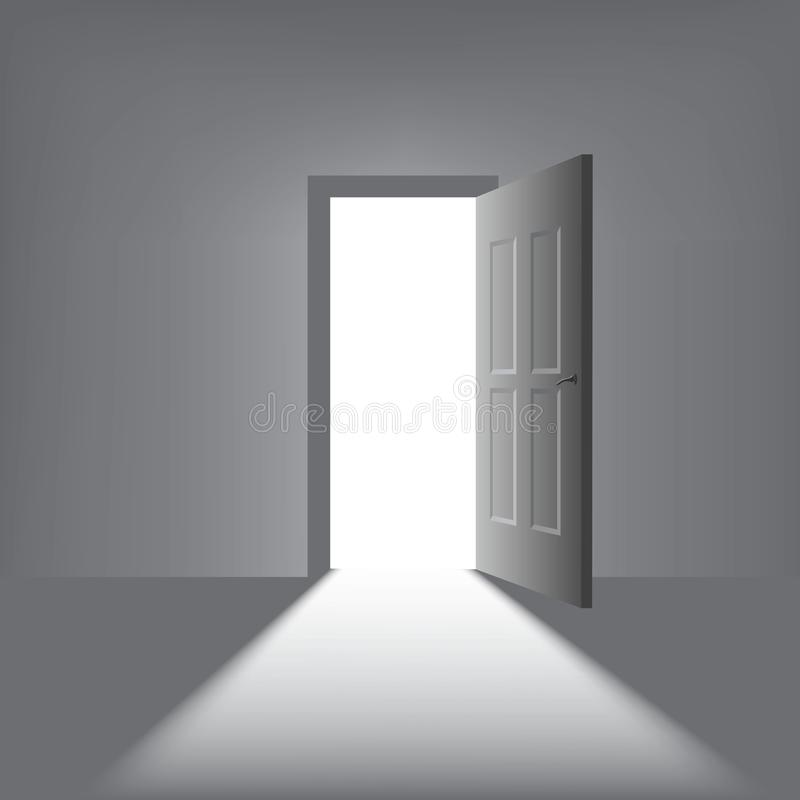 Open door with a bright light on a dark background royalty free illustration