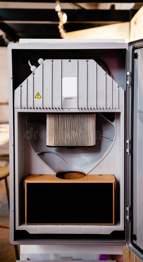 Open door of a central unit of a modern technology Central Vacuum Systems stock photography