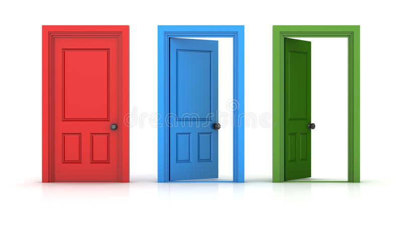 Open the door. This is a computer generated and 3d rendered image royalty free illustration