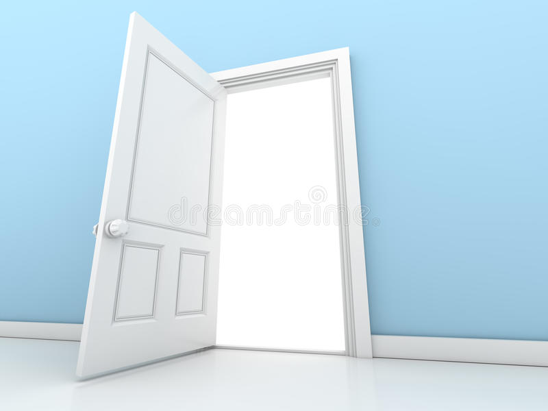 Open the door. This is a computer generated and 3d rendered picture royalty free illustration