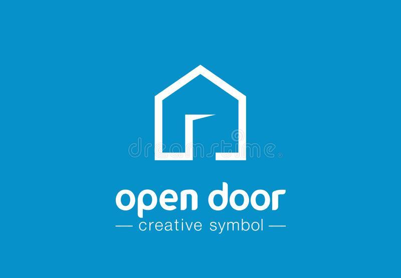 Open door creative symbol concept. Home button, build architecture, real estate agency abstract business logo. House royalty free illustration