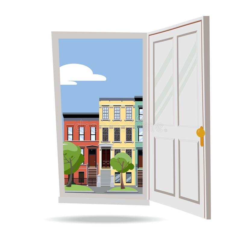 Open door into day summer city view with green leaves trees on white background. Flat cartoon style vector illustration. Three- vector illustration